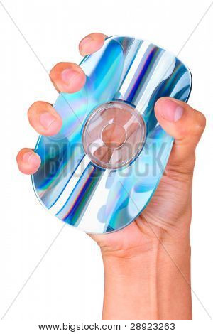 A close up of a hand squeezing a CD or DVD, shoot against very bright white screen.