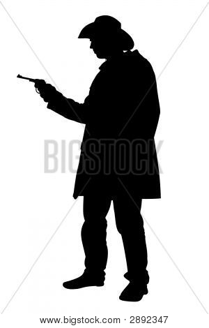 Cowboy Holding Gun