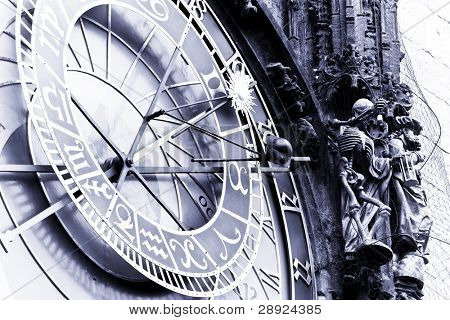 Astronomical clock at Prague, blue toned.