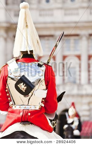 Two horse guards in front each other.