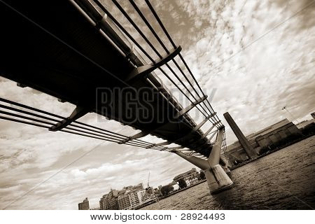London Millenium footbridge seen from below