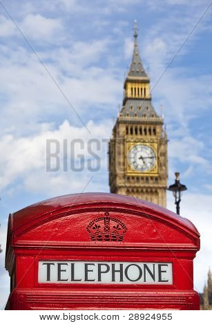 The Big Ben behind a telephone box. Focus on the telephone words.