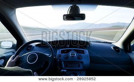 Inside car view at high speed.