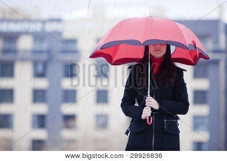 Young girl hidden under umbrella while it?s raining