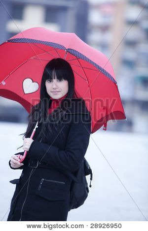 Girl hidden under umbrella while it?s raining