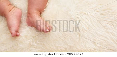 Chinese baby's feet on fur bed wit lots of copy space