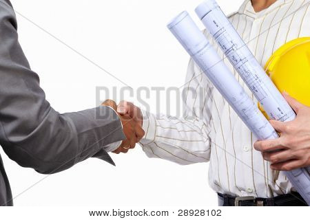 Handshake between civil engineer and businesswoman, isolated over white background
