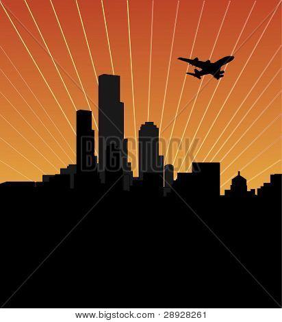 Stadt Skyline bei Sonnenuntergang oder Sunrise, dunkle Stadt