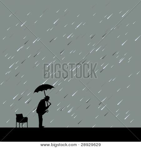 saxophonist under rain and umbrella vector illustration