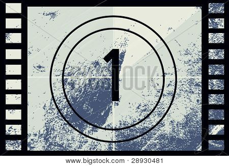 Film CountDown number 1 vector illustration