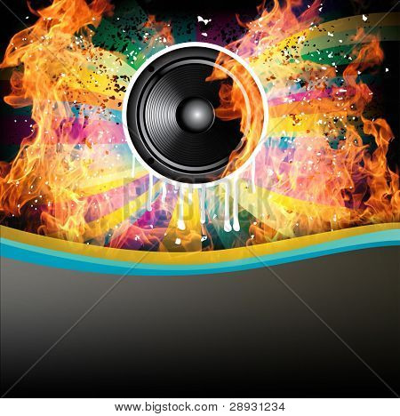 Rainbow Colorful Discotheque background with speaker and fire