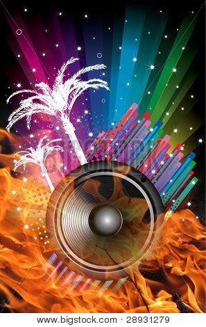 Background for Disco flyers with palms black Speaker and fire
