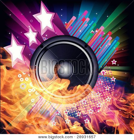 rainbow background with  black speaker and fire stars