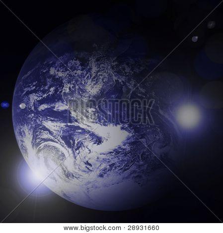 Planeta azul de la tierra en el espacio con estrellas