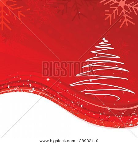 An abstract Christmas background illustration with star, snowflakes and tree