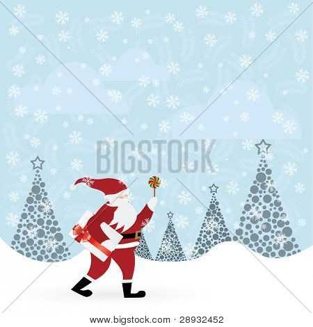 Santa Claus with candy and envelope in winter forest vector illustration