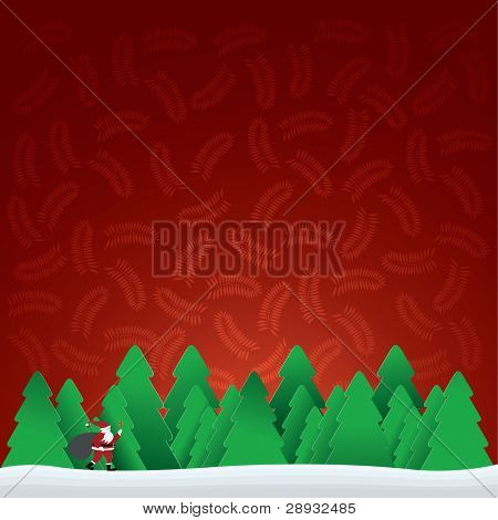 christmas card with Santa Claus in forest, vector illustration