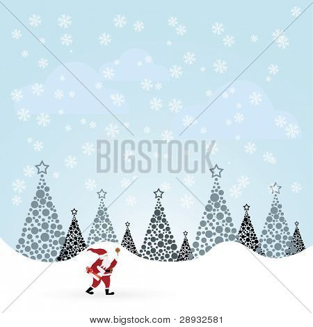 Santa Claus with candle in winter forest illustration