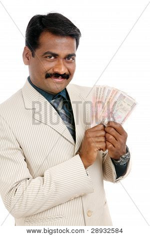 Indian business man with Indian money
