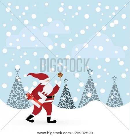 Santa Claus with candle and envelope in winter forest illustration