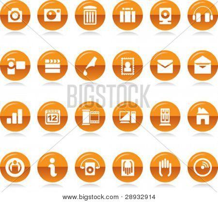 Ilustración del vector de un conjunto de varios iconos y símbolos