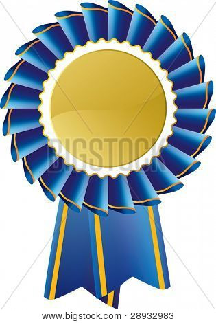 Blue award seal rosette, editable vector illustration