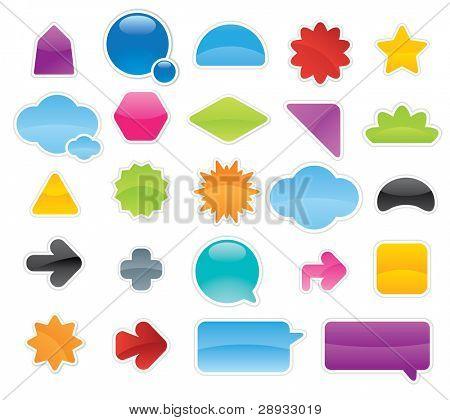 Coleção de Etiquetas coloridas e adesivos