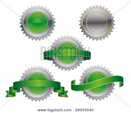 Medallions, scrolls, ribbons - vector illustration