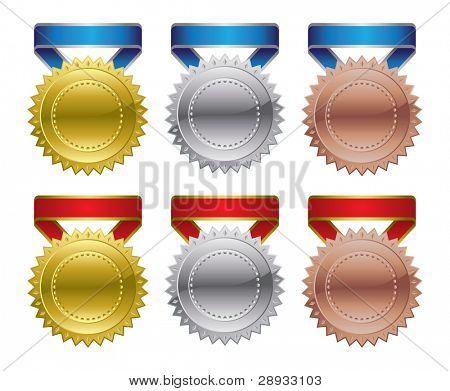 Gold Silver Bronze Award Medals