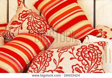 combination of multicolor funky pillows