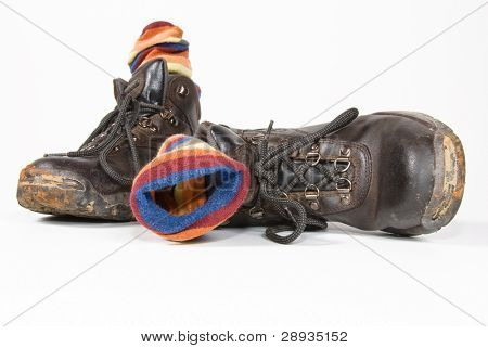 Heavy duty working and hiking boots with socks