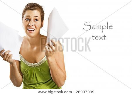 Beautiful young woman being discouraged by a overload of work - on a white background with space for text