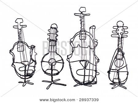 Four string instruments made of wire on a white background with space for text - violin, banjo, bass violin