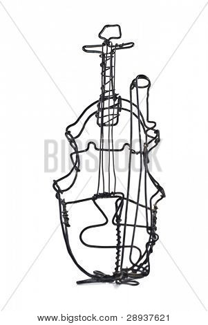 A Violin made out of wire on a white background with space for text