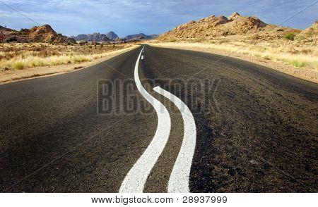 a Road wobble in a desert road