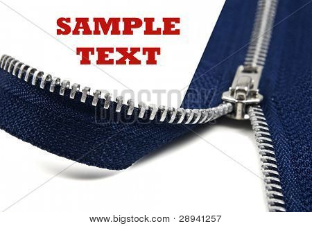 a Dark blue  open zipper on a pure white background with space for text