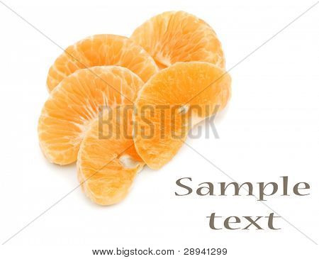 Mandarin citrus fruit slices on a pure white background with space for text