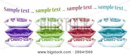 Four stacks or colorful cushions on a white background with space for text