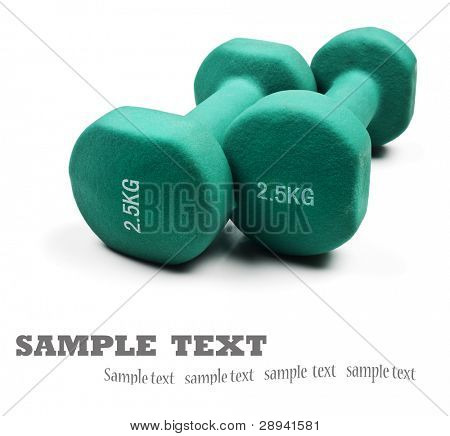 Two green dumbbells on a white background with space for text