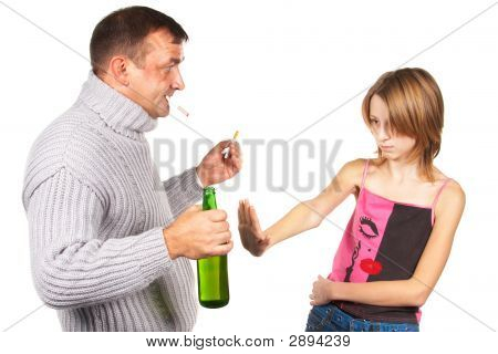 Man Gives An Alcohol To Schoolgirl.