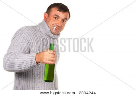 Drunk Man With Bottle Of Beer