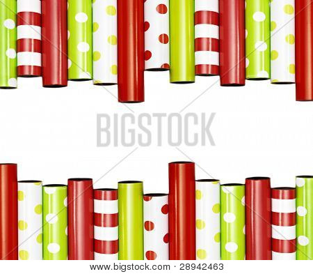 Rolls of gift wrapping paper