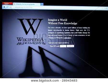 "SAN FRANCISCO, CA - JAN 18: Wikipedia, the largest collaborative online free encyclopedia began a 24-hour ""blackout"" in protest against SOPA on January 18, 2012 in San Francisco, Ca."