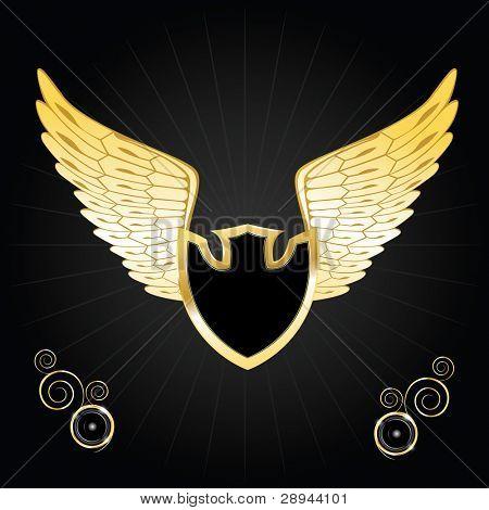 Vintage golden wings shield. Vector illustration eps10
