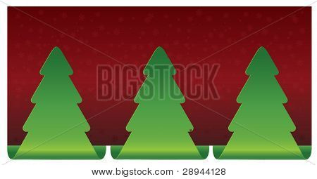 Christmas tree snowflakes on red background