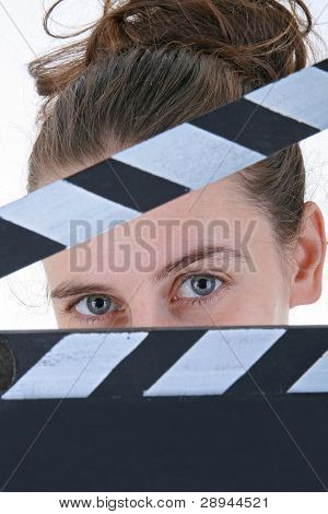 woman and clapper board