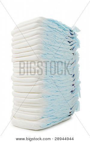 pile of diaper on white background
