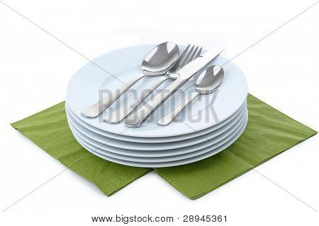 vajilla, plato y cubiertos en blanco