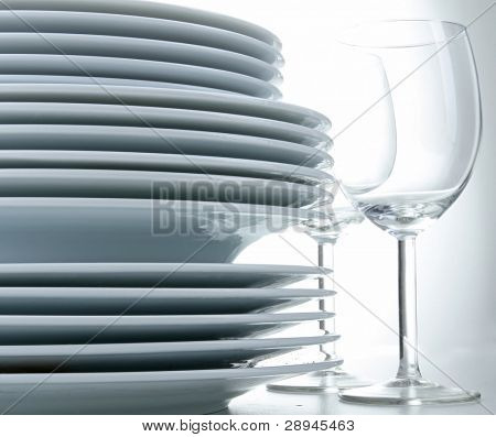 pile of plate and glasses