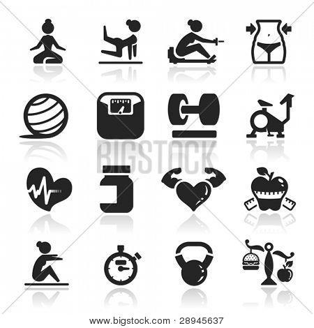 Conjunto de ícones de aptidão série elegante